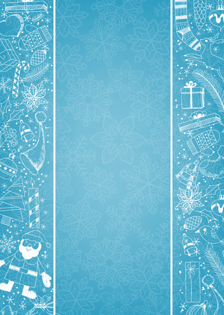 Christmas background with borders made of doodles items related to the holiday.