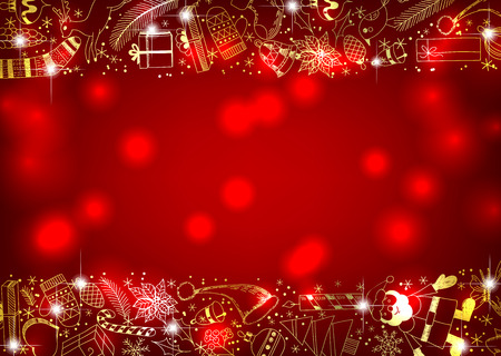 Red Christmas background with golden  borders made of doodles items related to the holiday. Illustration
