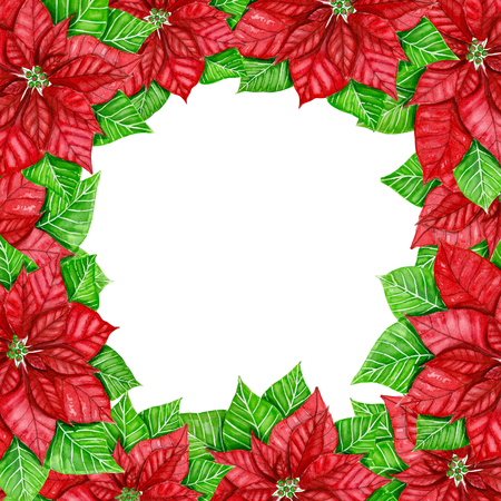 Frame made of poinsettias painted with watercolors. Christmas background with space for text.