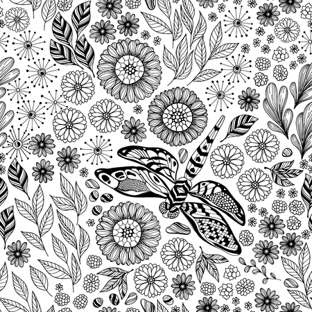 Doodle seamless pattern with dragonfly and flowers. Element for design.