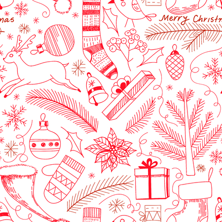 Seamless doodle pattern made of various Christmas related objects. Element for design Illustration