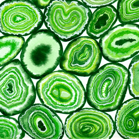 Green agate slices painted with watercolors.