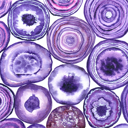 Purple agate slices painted with watercolors.