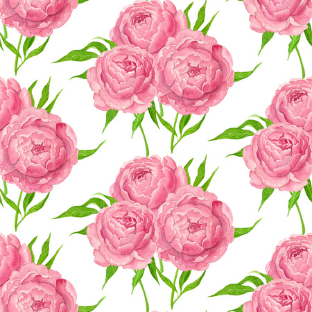 Seamless floral pattern with pink peonies painted with watercolors.