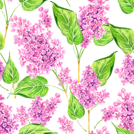 Seamless floral pattern with pink lilacs branches painted with watercolors.