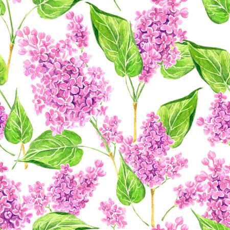 Nahtloses Blumenmuster mit den rosa Fliederzweigen gemalt mit Aquarellen.
