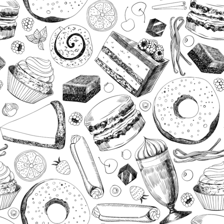 Seamless pattern made of various hand drawn desserts.Element for design.