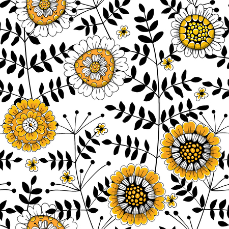Seamless pattern made of flowers and leaves drawn in doodle style.Element for design.