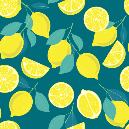 Seamless pattern with lemon fruits, slices and leaves. Element for design.