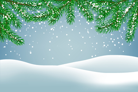 Winter background with falling snow and fir branches and ground covered with snow. Christmas card with space for text.
