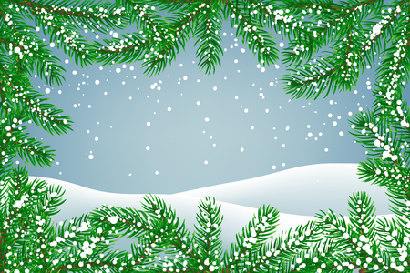 Winter background with falling snow and fir branches frame and ground covered with snow. Christmas card with space for text.