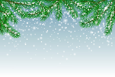 Winter background with fir branches covered with snow and falling snow. Christmas card with space for text.