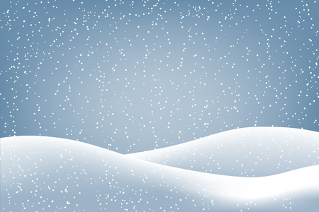 Winter background with falling snow and ground covered with snow. Christmas card with space for text.