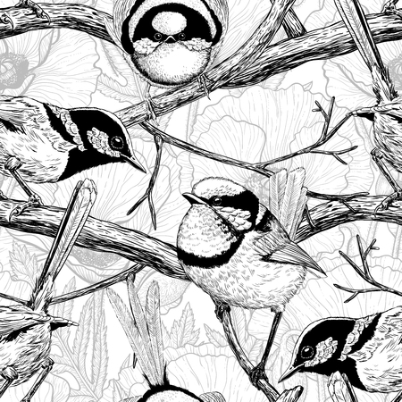 Seamless pattern made of hand drawn fairy wrens. Element for design. Stock Illustratie