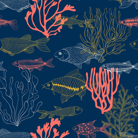 Seamless pattern made of hand drawn ocean fishes and corals. Element for design.