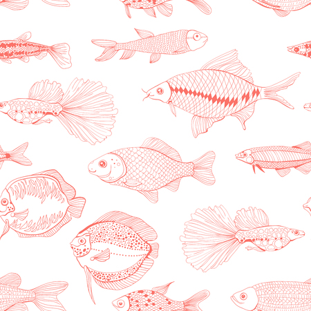 Seamless pattern made of hand drawn fishes. Element for design.