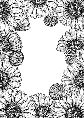Daisy flowers forming frame on white background with space for text.