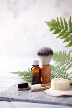 Zero Waste Cleaning and Shaving Products on marble plate. Bathroom eco friendly concept, minimal style background Stock Photo