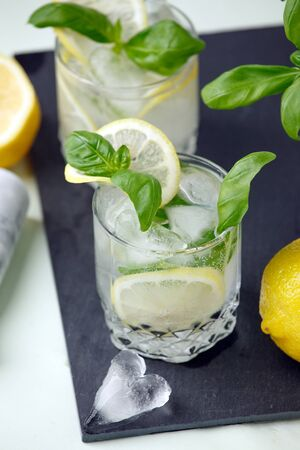 Alcohol or non alcohol lemon and basil drink, infused water or jin cocktail, refreshment drink, resort summer bar menu 写真素材