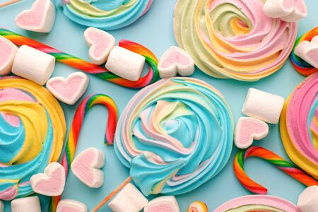 Multicolored background made of various colorful candies. Space for text, party, candy bar, childhood, birthday concept Stockfoto