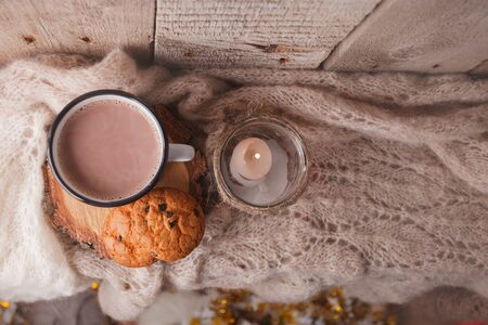 hot chocolate warming drink wool throw cozy autumn winter cookies, christmas holiday background, copy space, top view