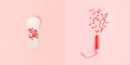 Feminine hygiene tampon and pad with confectionery heart on pink