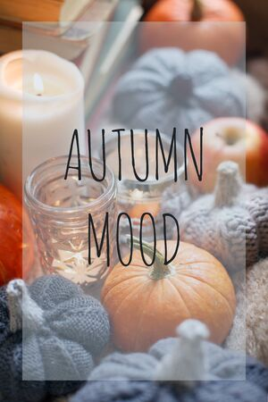 AUTUMN MOOD Seasonal fall comfy cozy background, happy thanksgiving holiday, Candle pumpkin and handcrafted knitting decor on window, warm moody concept