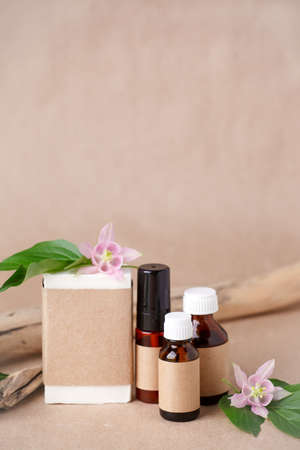 Herbal natural facial cosmetic products set with herbs on paper craft background, top view. Branding mock up, sustainable packaging, amber glass, eco-friendly wellness products, self-care focus