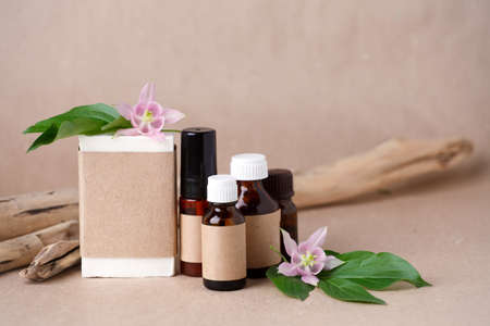 Blank amber glass essential oil bottles and handmade soap bar with craft package for branding mock up. Natural organic cosmetics, Alternative medicine, herbal essence, sustainable lifestyle concept Banco de Imagens