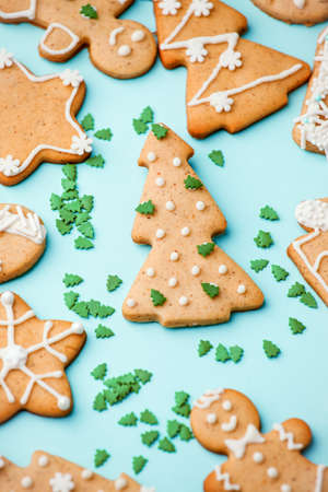 Winter Holiday close up - set of gingerbread on light blue background - man in mask, house, xmas tree, stars, Happy New Year 2021, Merry Christmas background, trendy concept 스톡 콘텐츠