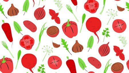 Ingredients for preparation of borscht. Different colorful vegetables clipart set. Healthy food concept. Иллюстрация
