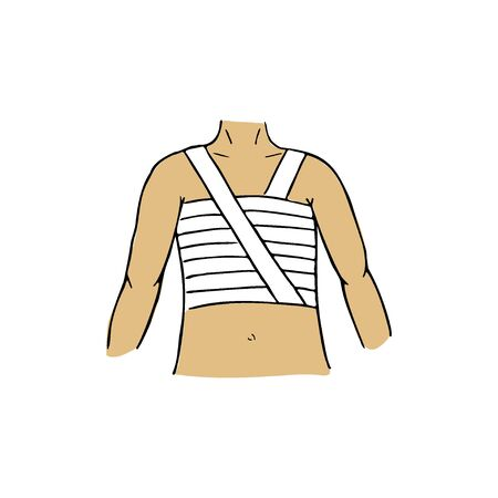 Spiral chest bandage, first aid medical emergency. Vector hand drawn illustration of injured person. Ilustrace