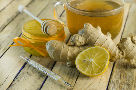 tea for colds with ginger and lemon and honey