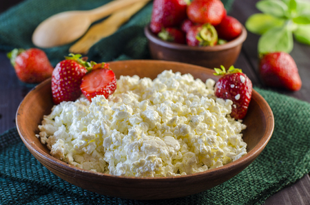 Fresh cottage cheese and strawberry for healthy eating