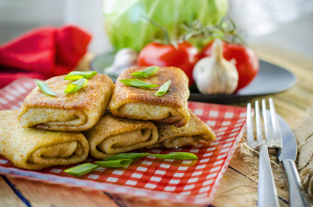 Fried pancakes twisted with meat inside on a plate Stock fotó
