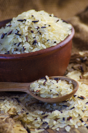 conventional grain and wild rice in a bowl