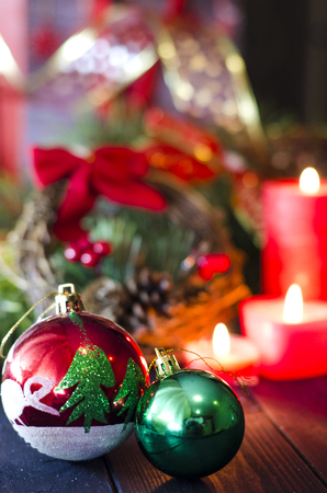 holiday Christmas toys for a Christmas tree closeup