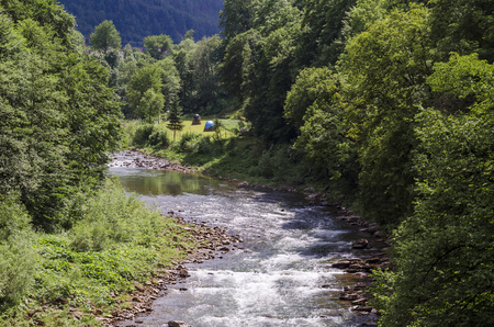 river in the Carpathians, view from the top