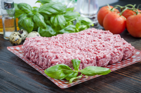 Fresh meat ground to the ground with other ingredients Stockfoto