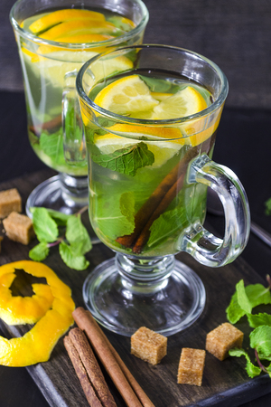 tea with mint, lemon and cinnamon in a cup