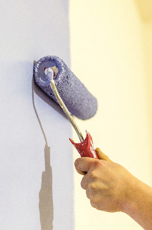 hand-painted walls with blue water-based paint
