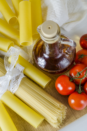 pasta, raw cannellones and spaghetti for cooking Italian dishes