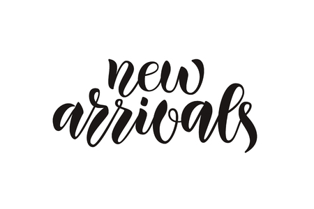 Hand drawn vector calligraphy text poster for promotion, new collection, women internet website. Concept of advertising for girl shop of clothes, accessories, shoes, watches, bags, souvenirs, flowers 일러스트