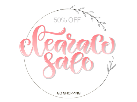Vector illustration of calligraphy, logotype, print, text for sell out, clearance sale, closeout, giveaway, promo of fashion, floristic, accessories, shoe woman, girl shop. Feminine drawn art sign