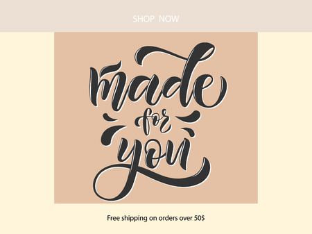Vector illustration of lettering poster, logotype, text for clothes shop, catalog, collection, ad, special offer, accessories web site, item page. Banner for homepage, email, print, element of design Çizim