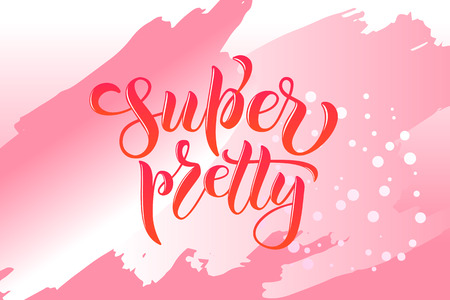 Vector illustration of calligraphy, logotype, text for greeting, celebration design. Motivational text, modern feminine type as print, card, sticker, party invitation, template, game, poster, present Stok Fotoğraf - 103783487