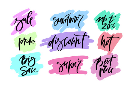 Vector hand drawn promotional design of words big sale, summer, up to, promo, discount, hot, best price, super, for banner on website, clothes store. Art illustration of logotype for sale, give away
