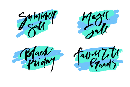 Vector illustration of calligraphy summer sale, favourite brands, black friday, magic sale, logotype, print, text for sell out, clearance sale, closeout, giveaway, promo of fashion, floristic
