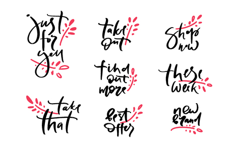 Vector illustration of lettering just for you, take that, take out, these week, best offers, shop now, find out more, new brand  poster, logotype, text for clothes shop, catalog, collection, ad Çizim