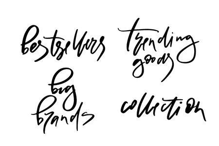 Vector illustration of lettering or calligraphy of words bestsellers big brands trending goods collection. Banner for homepage, email, print, element of design,  logotype, text for clothes shop